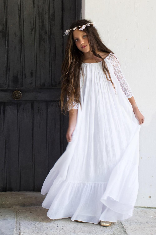 8e6c1d86677 Robe Longue Ava Blanche Les Petits Inclassables 10 Ans - So Bohème